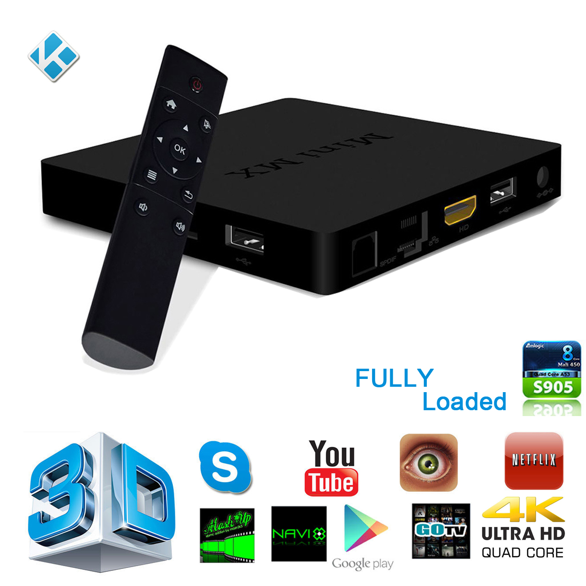 Mini MX Amlogic S905 KODI Android 5.1 TV Box 1GB/8GB Lan Wifi Bluetooth 4.0 Quad Core Fully Loaded XBMC Media Player UK AH108(China (Mainland))