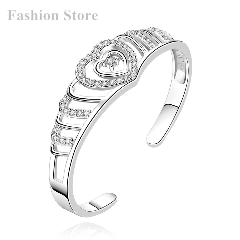 Trendy Classic Heart Love Bangles Silver Plating Bangle Cubic Zirconia Fashion Bracelets Price B218 - Jewels for Women store