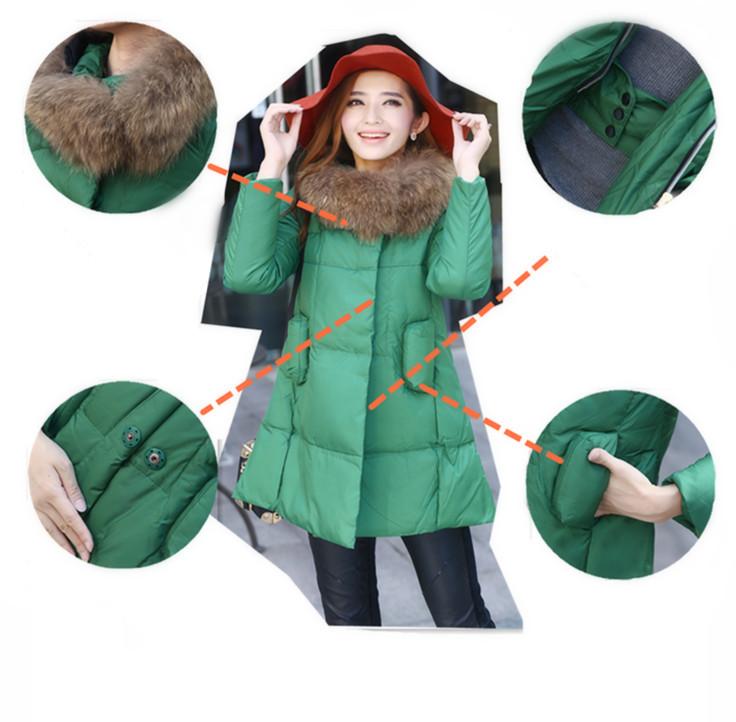 Hot Sale Candy Color Slim Down Jacket Md-long Cloak Big Fur Collar Plus Size Thick Coat Free Shipping LY1834Îäåæäà è àêñåññóàðû<br><br>
