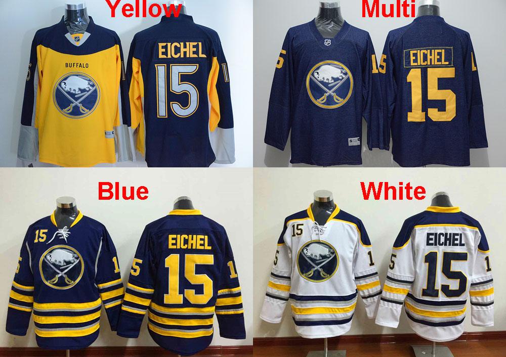 Men's Buffalo Sabres #15 Jack Eichel Hockey Ice Jerseys,White Yellow Navy Blue Jerseys 100% Stitched,Top Quality(China (Mainland))