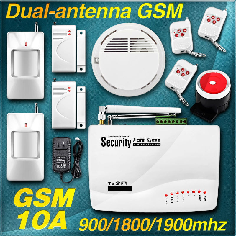 New 2 Two antenna Wireless/Wired Home smoke burglar alarm GSM Voice Alarm System 900/1800/1900Mhz Auto dial remote arm/disarm(China (Mainland))