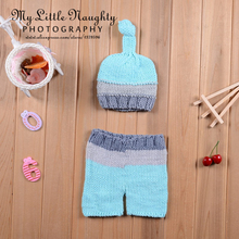 Roupas bebe fotografia hand knits newborn baby light green and grey sets high quality knot hat and pants new baby shower gift(China (Mainland))