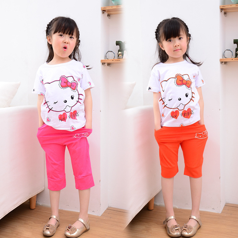 New arrival Fashion 2015 Summer Toddler girl Clothing Set cat T-shirt+pants Baby Wear Suits cotton Kids Clothes(China (Mainland))