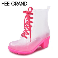 HEE GRAND 2016 Rain Boots Women Ankle Rubber Boots Thick High Heels Shoes Woman Lace Up Transparent Rainboots Size 36-41 XWX4367(China (Mainland))