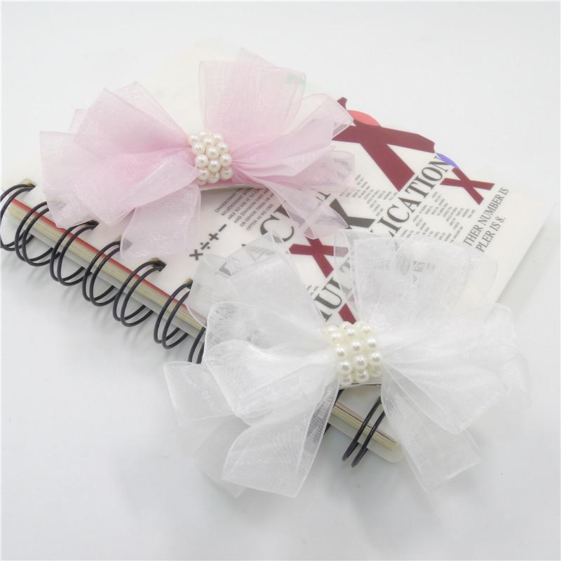20pcs/lot Chiffon Gauze Organza Flower Hair Clip Pink White Floral Pearl Hairpin Bridal Wedding Hair Grip Bridesmaid Barrette(China (Mainland))