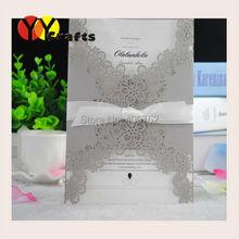 Birthday Invitation Cards Creative Laser Cut Folding Wedding Invitation Cards 50sets/lot Filigree Invitation Cards(China (Mainland))