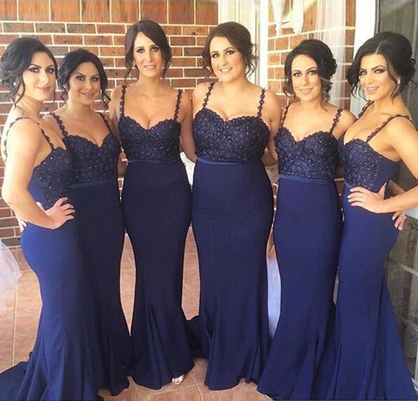 elegant navy blue long Bridesmaid Dresses 2017 beautiflu Sweetheart spaghetti strap women formal guest dress for wedding party