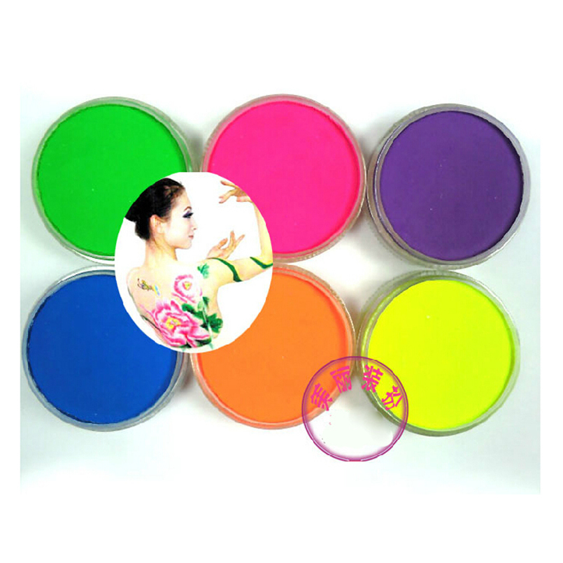 1 SET/6 colors Halloween UV glow Neon face body paint 45g fluorescent makeup set pigment water-based peinture cosplay clown Hot(China (Mainland))