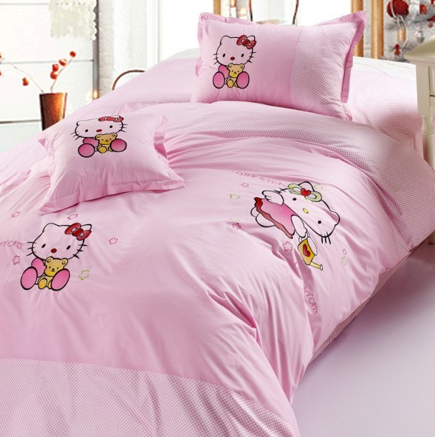 Hot sale hello kitty bedding set queen king size falt