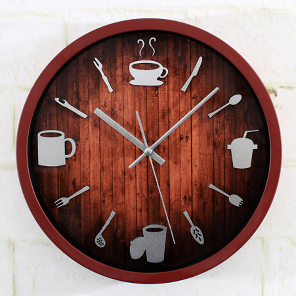Modern Tableware Knife Fork Cup Round Wall Clock Restaurant Kitchen Creative Design Wall Clock Silent Non-ticking Wall Clock(China (Mainland))
