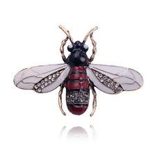 Vintage Insetto Ape Spilla per Le Donne Delle Ragazze Dei Capretti bee gioielli In Oro di Colore Giallo Verde Dello Smalto Spille Gioielli bumble bee Broche(China)