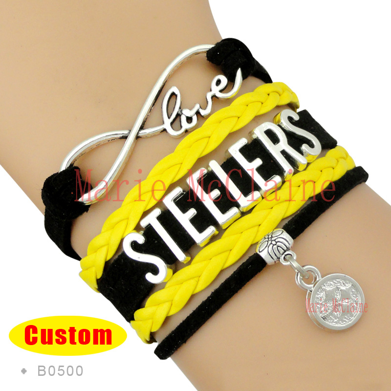 (10 Pieces/Lot) Infinity Love Pittsburgh Football Bracelet Steelers Football Team Bracelet Black Gold White Leather Jewelry(China (Mainland))