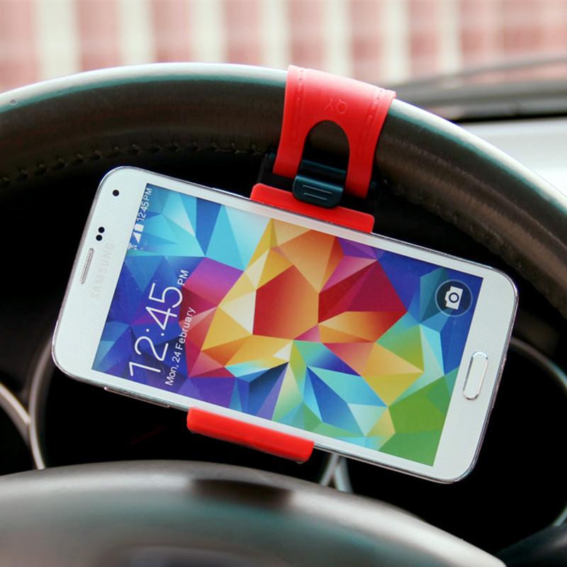 universal car steering wheel holder socket mobile support stand mount phone holder rack GPS car holder trestle flexible clip(China (Mainland))