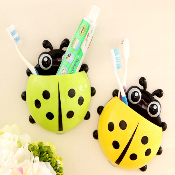 1pc Popular Funny Hotsale Lovely Cute Cartoon Yellow/Red/Blue/Green Ladybug Suction Tooth Brush Holder Free Shipping(China (Mainland))