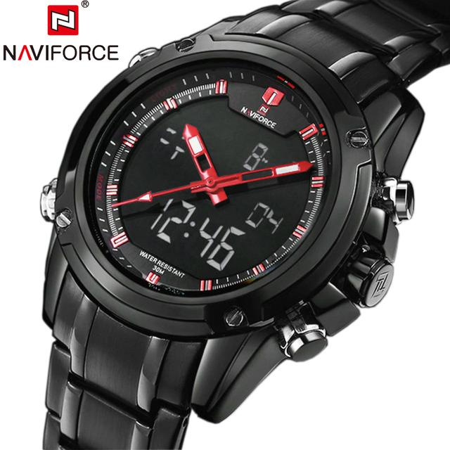 2016 новый роскошный Naviforce календарная мужчины спортивные часы мужская цифровой черный военная наручные часы полный стали Relogio мужских часов мужчины relojes