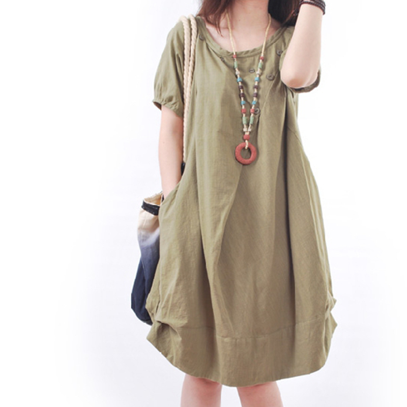 Women Dresses Big Size robe femme 2015 Casual Short Sleeve Green Mori Girl Loose Large Size Linen Summer Dresses Female Clothing(China (Mainland))