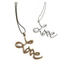 fashion silver bronze color vintage  long alloy love words letter pendant charm necklace sweater chain,original factory supply
