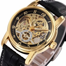 2016 Sport Design Golden Watch Mens Automatic Movement Mechanical Watch Genuine Leather Top Brand Skeleton Watches Men Luxury(China (Mainland))