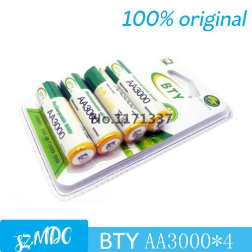 4pcs/lot Original BTY 3000 NIMH AA 1.2V Rechargeable Battery AA Batteries 1.2V pilha recarregavel pilas recargables(China (Mainland))
