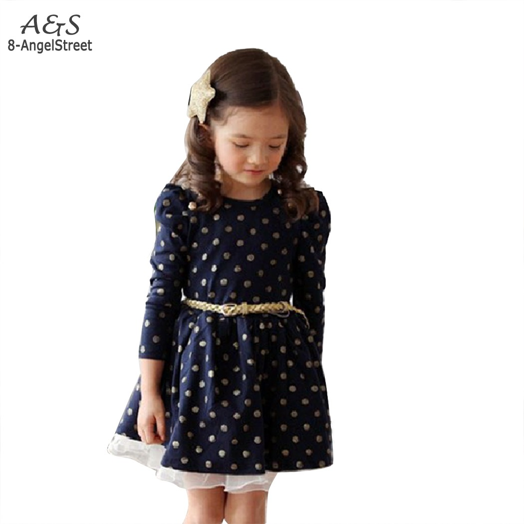 2014 New Stylish Kids Toddler Girls Princess Dress Long Sleeve Polka Dots Buttons Dress Ages With Belt 3-11Y 41(China (Mainland))