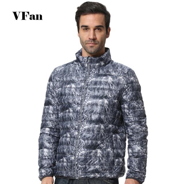 Camouflage Men Ultralight Down Coat Standing Длинный Рукав Модный Повседневный Brand ...