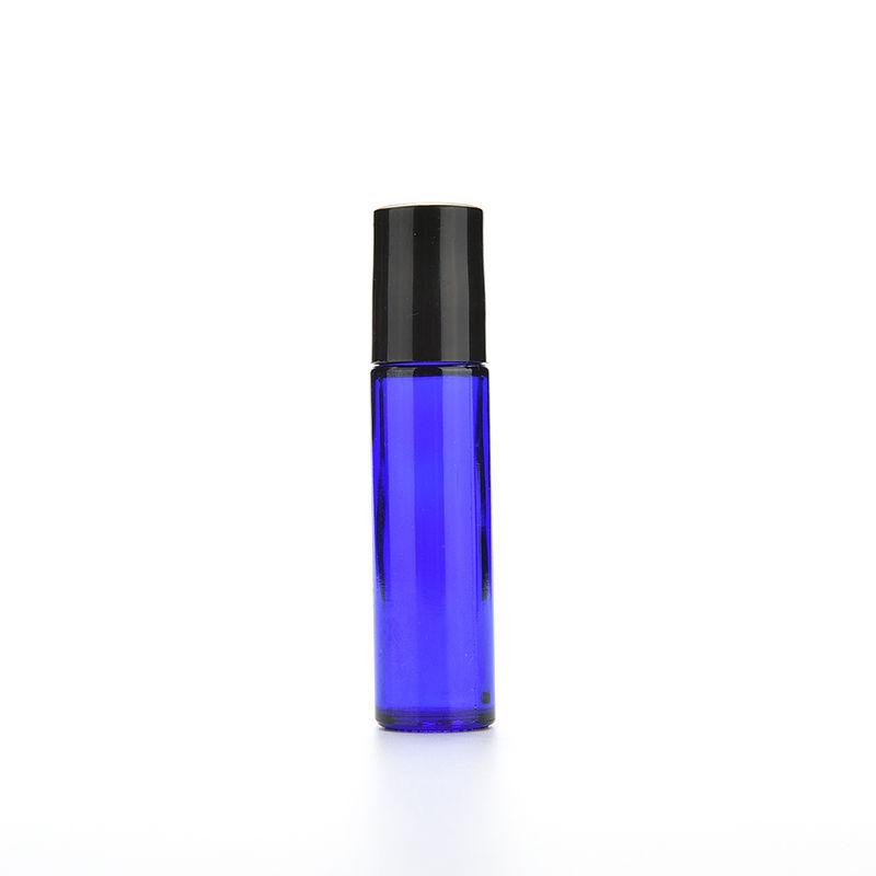 1pc 10ml Blue Glass Bottle Roll On Empty Fragrance Perfume Essential Oil Bottle 10 ML Roll-On Black Plastic Cap Bottle(China (Mainland))