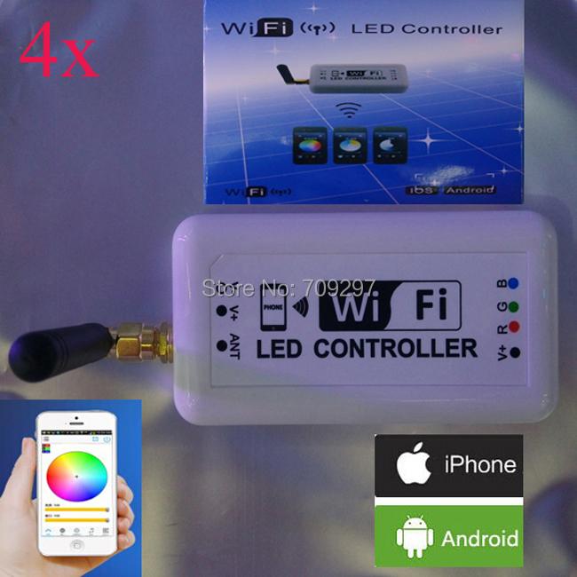 4pcs/lot IOS/Android RGB controller,DC12V/24V 12A Wireless wifi controller WIFI370 2.3 Version Android and IOS system via DHL(China (Mainland))