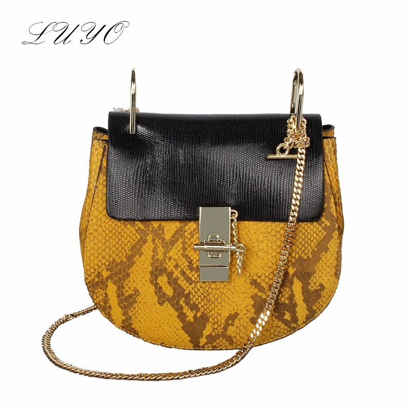2016 Fashion Genuine Leather Chain Animal Skin Luxury Handbags Women Messenger Bags Designer Star Small Piggy High Quality Sac(China (Mainland))
