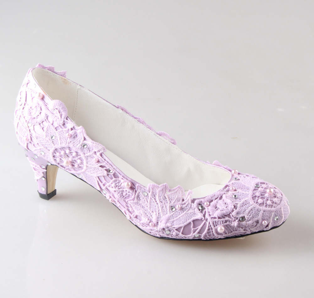 Handmade light purple lavender lace woman wedding party for Low heel dress shoes wedding