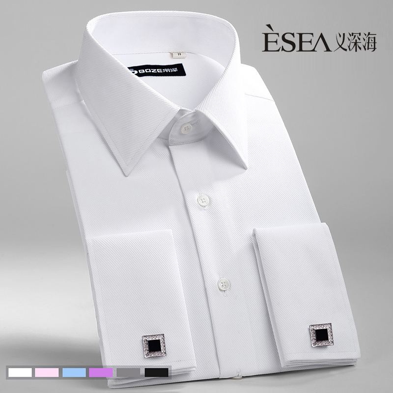 Male French cufflinks shirt married shirt slim male long-sleeve easy care shirt solid color(China (Mainland))