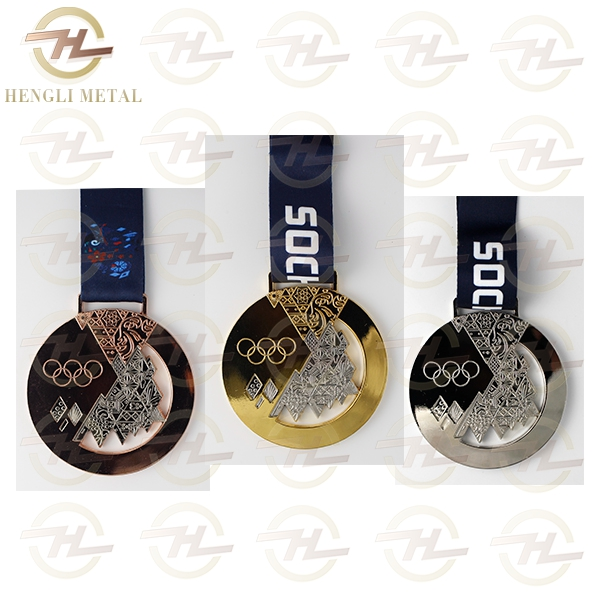 3 pcs/lot 2014 Olympic Athletes Champions Prizewinners Russia Sochi Olympic Gold Silver Bronze Medals WITH RIBBON Badges Coins(China (Mainland))