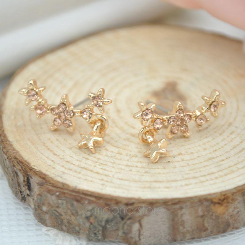 1 Pair Women's Stars & Rhinestones Style Earrings Ear Decor J*60CSS0008#M6 - Super Star---Fashion Andy's Store store