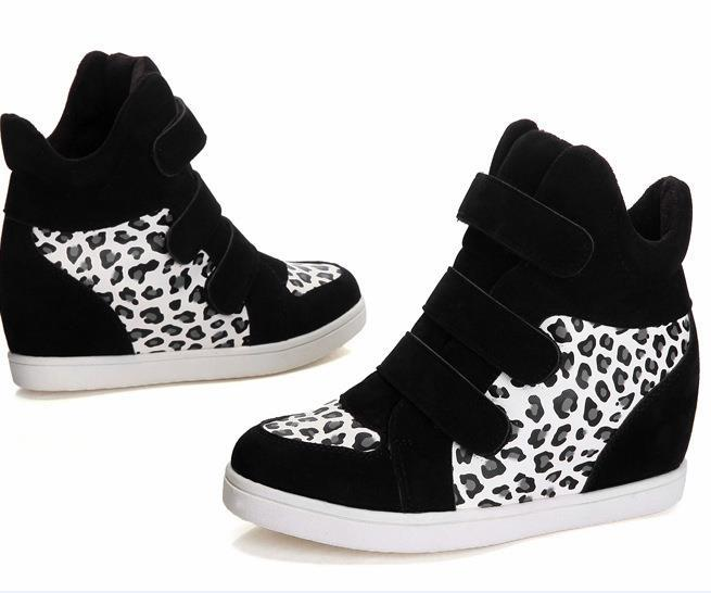 wedge sneakers women sport shoes isabel marant sneakers 2015 fashion leopard hook running shoes sneakers on platform(China (Mainland))