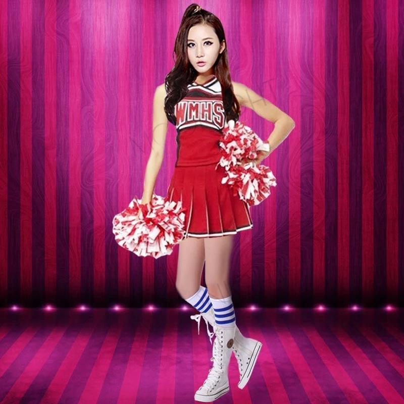 Glee Style Cheerleading Varsity Cheerleader Girl Uniform Costume Outfit + Pom Poms