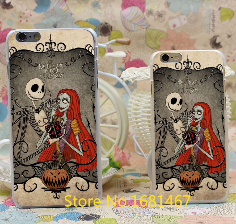Jack Skellington The Nightmare Before Christmas Design Hard Clear Skin Transparent for iPhone 6 6s 6+ 6 Plus Case Cover(China (Mainland))