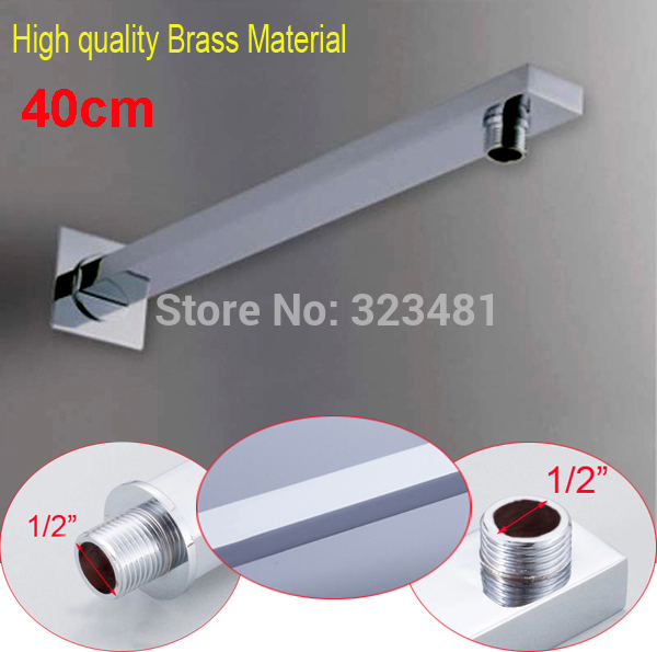 New Arrival 40CM Square Copper Shower Arm kit For Shower Head Holder Wall Mounted Chrome Plated Shower Bar Rod in Bathroom(China (Mainland))