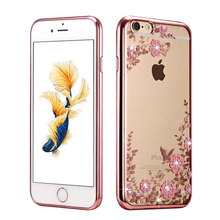 New Rhinestones Transparent Soft TPU Plating Case For iPhone 5s cases 6 5 6s 6 Plus iPhone 7 Case plus Clear Cover(China (Mainland))
