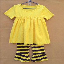 20sets/lot yellow top&stripe shorts