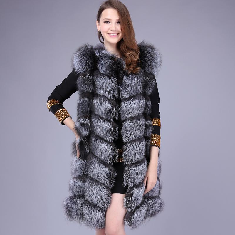 LIYAFUR Women's 100% Real Genuine Full Pelt Silver Fox Fur 90cm Long Sleeveless Vest Waistcoat Gilet Custom Made(China (Mainland))