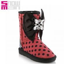 Genuino dulce pajarita Rhinestone botas de nieve de lana de la nieve zapatos 2015 talones planos del invierno antideslizante de los zapatos de invierno(China (Mainland))