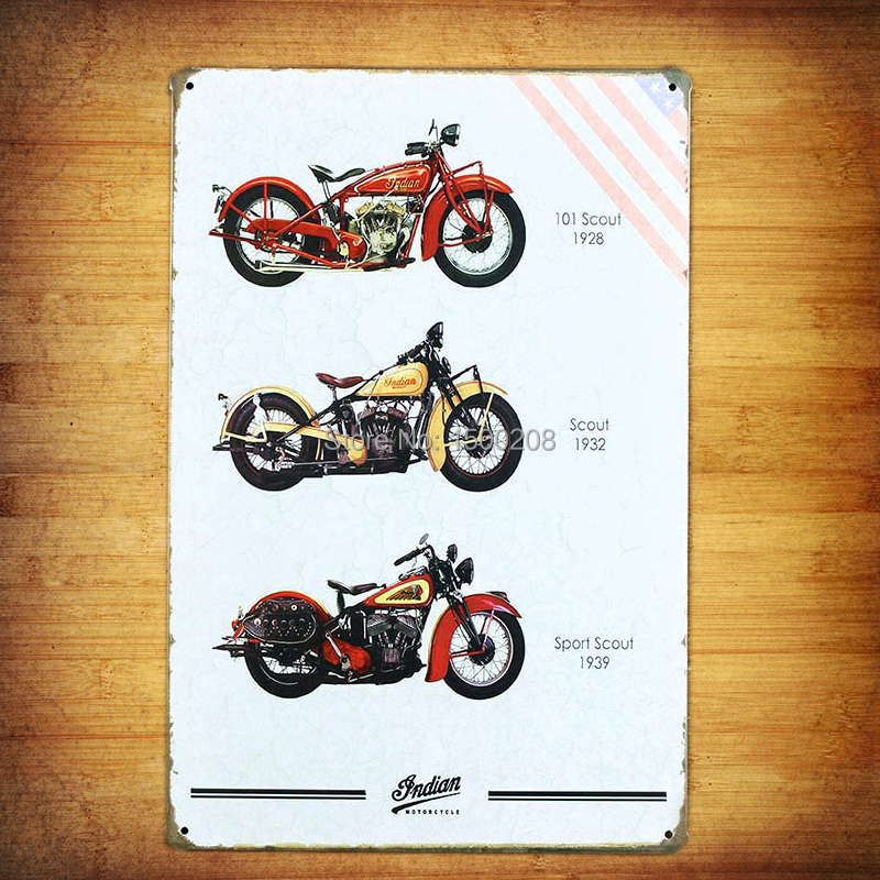 Buy scout motorcycle vintage retro metal for Decor mural metal