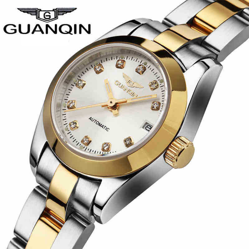 Фотография 2016 GUANQIN To Brand Luxury Women Automatic Watch Waterproof Diamond Sapphire Lovers Gold Watch relogio masculino