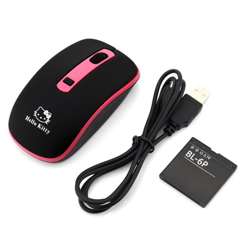 Rechargeable Wireless Mouse Cute KT Computer Mice 2.4GHz 1600DPI Optical Gaming Mouse High Quality(China (Mainland))
