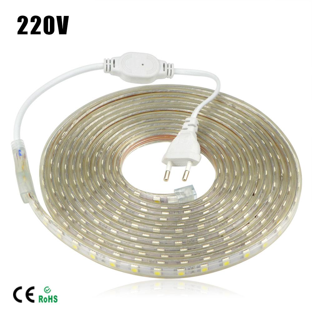 Waterproof LED Strip SMD 5050 AC 220V 1M/2M/3M/4M/5M/6M/7M/8M/9M/10M/15M/18M/20M/22M/25M + EU Power Plug 60LEDs/M led light(China (Mainland))