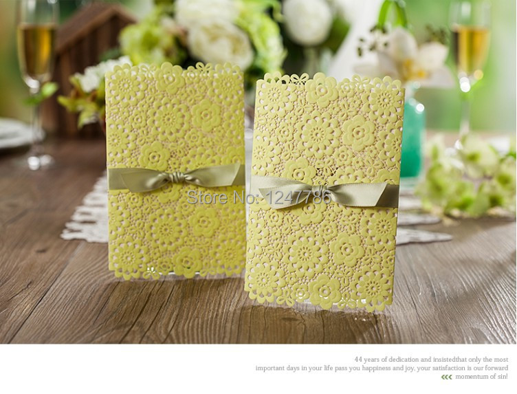 New Arrival 20 sets/lot Free shipping wedding invitation card Lemon yellow high quality laser cut Europe style(China (Mainland))