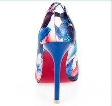 Women summer spring satin new thin high heels hot sale printing flowers classic high quality pointed