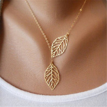 Jewelry 2015 New Gold And Sliver Two Leaf Pendants Necklace Chain multi layer statement necklaces Woman Gift SALE(China (Mainland))