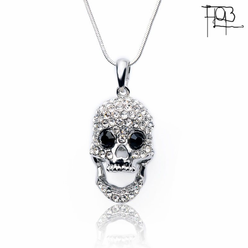 2016 New Arrivals White Gold Plated Austrian Crystal Pendant Necklace Fashion Jewelry Crystal Skeleton Pendants Women Lady(China (Mainland))