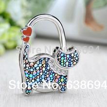 1 PC Fashion Originality Lovely Color Revising Cat Design Handbag Folding Bag Purse Hook Hanger Holder for gift Cat lock bling(China (Mainland))