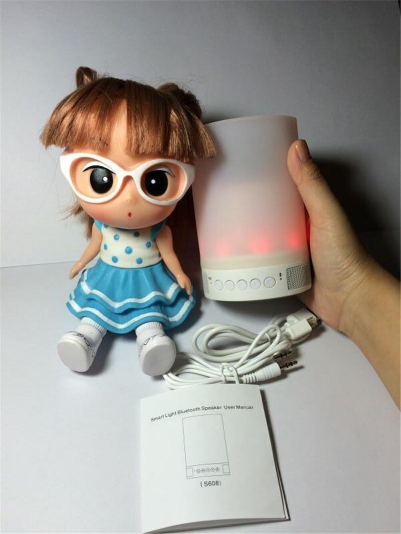 2015Newest LED Romantic Table Lamp Lighting Bluetooth Speaker Handfree-call support TF Card Smart Alarm bluetooth soundbox(China (Mainland))